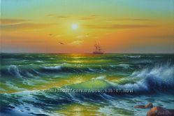Картина маслом Искрящаяся волна 40х60