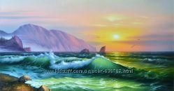 картина  маслом Восход солнца над Аюдагом 45х90