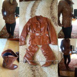 Супер набір шкіряна курточка і чобітки
