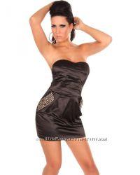 Платье черное с камнями на карманах