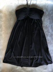 черное платье-туника, бюст бандо, можно для пляжа