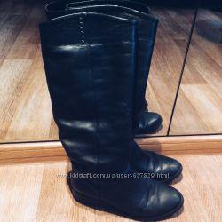 Зимние кожаные сапоги