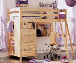 Бабочка - двухъярусная подростковая кровать чердак с блоком ящиков и полок