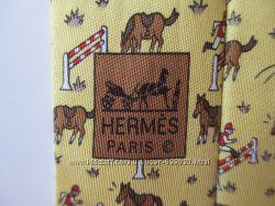Галстук PARIS HERMES. Лошади. Шелк. Оригинал.