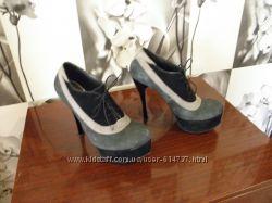 Шикарные туфли  замш, кожа