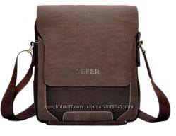 Качественная мужская сумка ZEFER. Коричневая сумка КС93