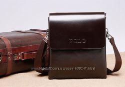 Небольшая коричневая мужская сумка Polo. Купить сумку. Сумка-планшет. КС99