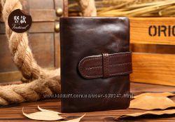 Мужской кожаный кошелек, портмоне. Натуральная кожа. Коричневый. ЕК103