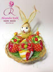 Подарки на Пасху корзина, зайцы, кролики, куры, гуси