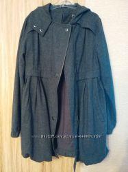 Пальто тонкое шерсть с капюшоном М бу