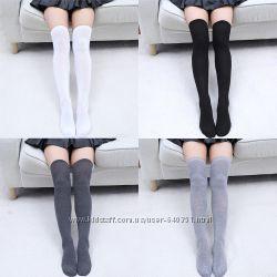 Гольфы за колено высокие носки чулки черные белые серые хлопок