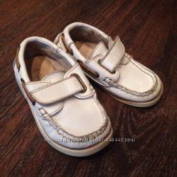 Топсайдеры детские мокасины туфли белые для мальчика кожаные Зара Zara 21 р