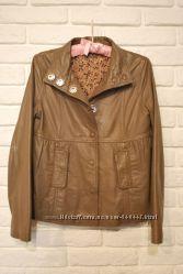 Куртка курточка кожаная кожа лайка бежевая NafNaf