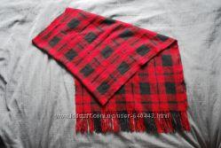 Большой шарф плед палантин теплый в черно-красную клетку как Zara