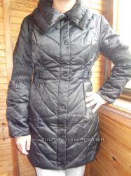 Пальтопуховик черное пуховое Colins XS