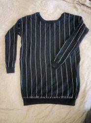 Утепленная свитер туника платье atmosphere, в полоску, красивое декольте, р