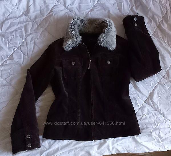 Деми куртка приталенная короткая на флисе, вельветовая, марсала, утепленная