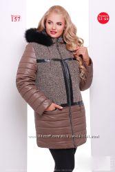 Утеплённое пальто куртка. 3 цвета, р. 52, 54, 56, 58, 60, 62, 64.