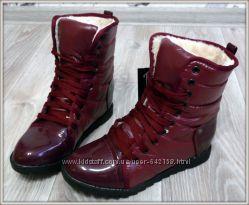 Ботинки дутики зима на меху и на шнуровке 3 цвета