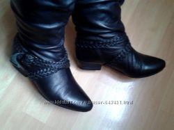 Черные кожаные сапоги, нат. кожа, демисезон, 37 р.