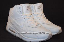 Nike Air Max зимние высокие белые кроссовки унисекс
