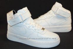 Nike Air Force высокие белые кроссовки натуральная кожа Акция