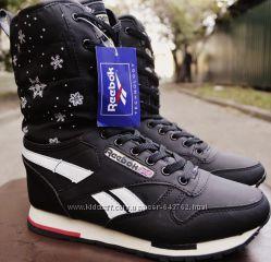 Черные спортивные зимние сапожки Reebok