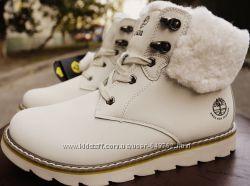 Зимние ботинки аналог Timberland натуральный нубук  овчина