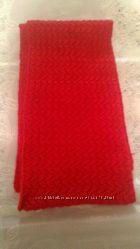 Шарф  вязанный красный