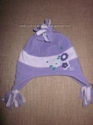 Фирменная флисовая шапочка на маленькую принцесу 1-2 года, объём 48 см.