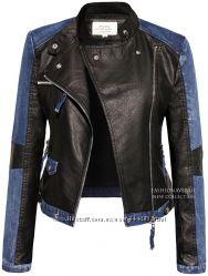 Женская куртка из эко-кожи, с джинсовыми вставками