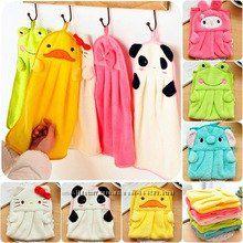 Детское полотенце для рук, цветные, зверюшки, уточка, слоник, лягушонок