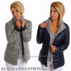 Женская стёганая куртка двусторонняя в клетку