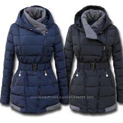 Женский зимний пуховик с серыми вставками
