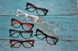 Имиджевые очки кошачий глаз, прозрачная линза