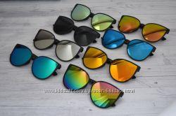 Солнцезащитные женские очки крупные кошачий глаз зеркальные