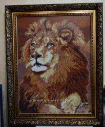 Картина,  вышита чешским бисером,  Лев