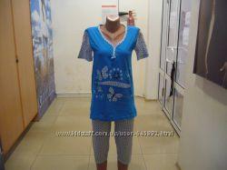 пижама женская футболка-бриджи новая турция m l xl