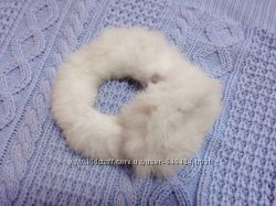 Меховые зимние наушники белые натуральный мех