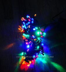 Гирлянда светодиодная 100 LED яркие мульти черный провод