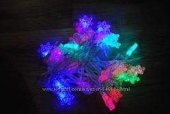 Новогодняя гирлянда снежинки 40 LED
