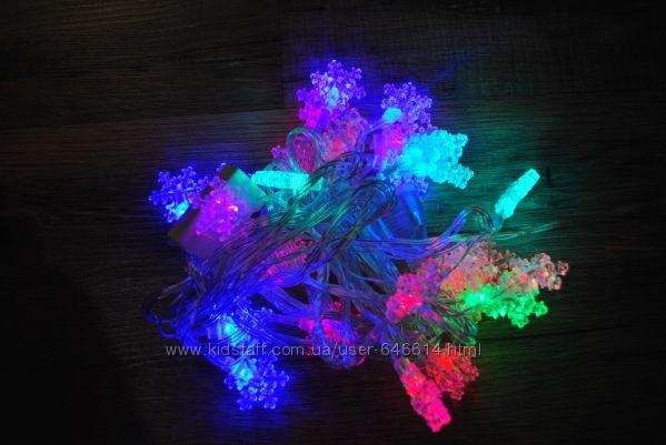 Новогодняя гирлянда снежинки 28 LED