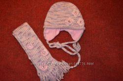 Классный набор шапочка шарф. Натуральная нитка.