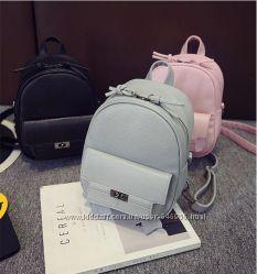 Рюкзак-сумка кожзам черный розовый  серый и голубой