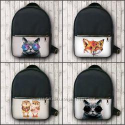 Рюкзак кожзам коты, лиса, совята