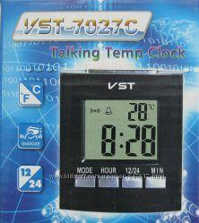 Говорящие настольные часы VST-7027C, с термометром и будильником