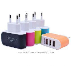 Качественное Usb зарядное адаптер на три порта, 3, 1А