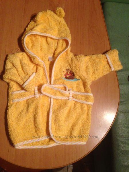 Халат махровый банный желтый Disney 0-9 месяцев, халатик, капюшон, 6 месяце