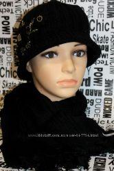 Женские вязанные шапки с шарфами