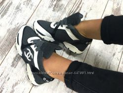 Кроссовки женские в стиле спорт шик  Chanel текстиль и кожа